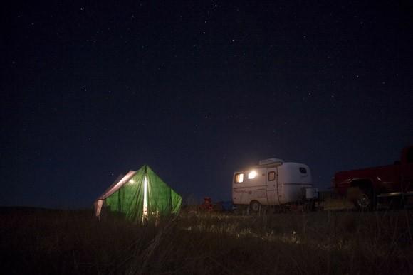 Hunting campsite outside Sumatra, Montana, USA.