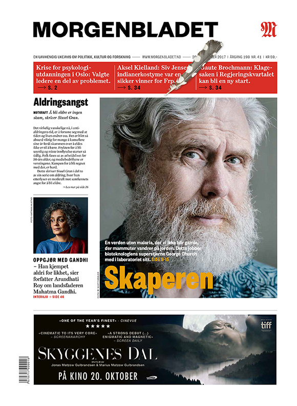 Tearsheet: George Church and his lab for Norway's Morgenbladet