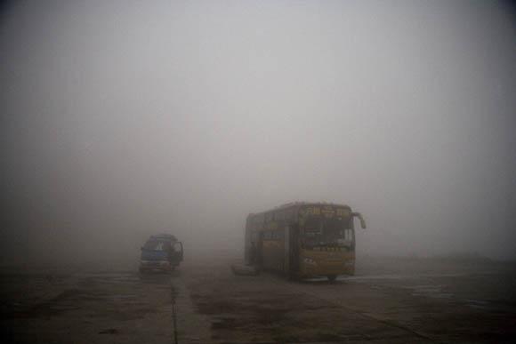Bus in fog in Yunnan, Province