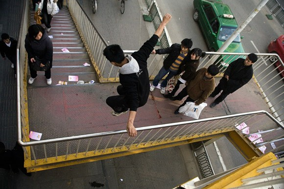 Members of Nanjing's parkour team TNT practice for a parkour session in Nanjing, Jiangsu, China.