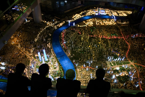 The Shanghai Urban Planning Museum exhibits a scale model of the Shanghai cityscape in Shanghai, China.