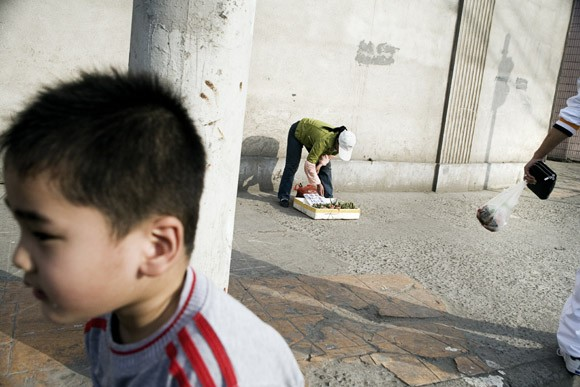 People walk past a street vendor selling small houseplants in Shanghai, China.