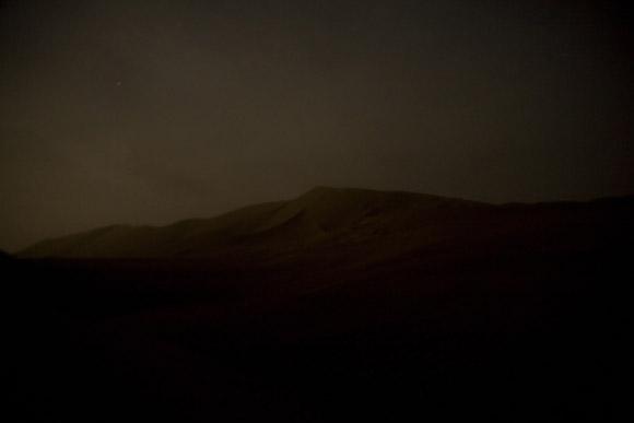 The dunes of the Gobi Desert at night near Dunhuang, Gansu, China.