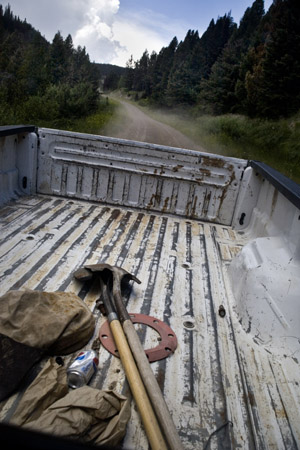 Work equipment lays in the back of a Forest Service truck outside Butte, Montana, USA.