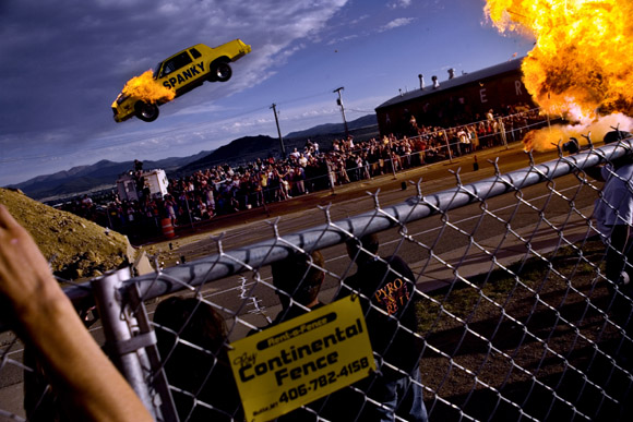 Spanky Spangler comes up short on a 200-foot daredevil jump at the culmination of Evel Knievel Days in Butte, Montana, USA.  Spangler survived the crash.