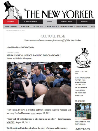 Screenshot of NewYorker.com - Jan. 7, 2012