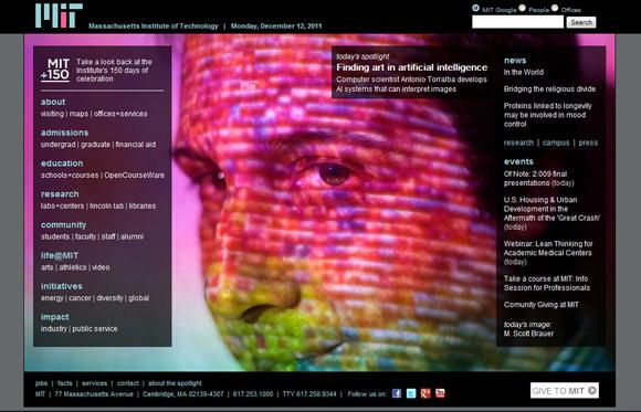 Screenshot of MIT.edu on 12 December 2011. Portrait of Antonio Torralba by M. Scott Brauer for MIT News